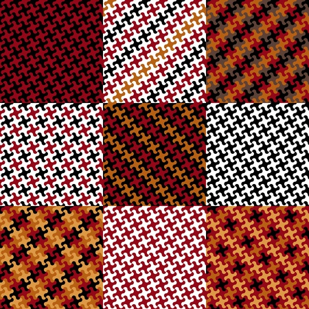 Collection of nine trendy puzzle patterns made from the same puzzle piece in red, yellow, black and white.