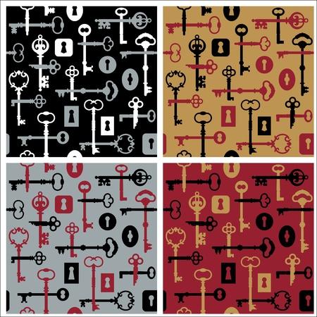 Vector seamless pattern of skeleton keys and locks in four colorways. Vector