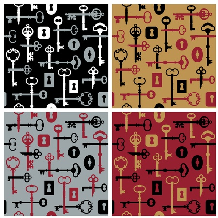 Vector seamless pattern of skeleton keys and locks in four colorways.