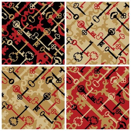 Vector seamless pattern of skeleton keys in four colorways.