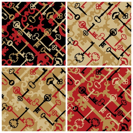 latch: Vector seamless pattern of skeleton keys in four colorways.