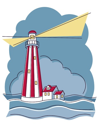 Vector illustration of a red and white vertically striped lighthouse.