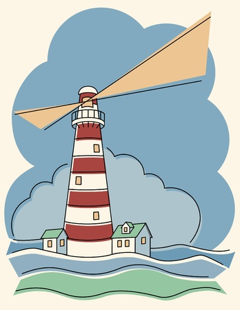Vector illustration of a red and white hornizontally striped lighthouse.