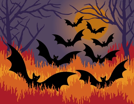 critters: illustration of bats flying out of fire.