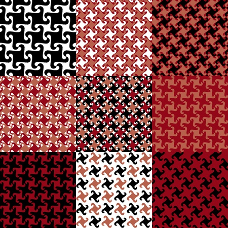 houndstooth: collection of nine swirly patterns in red, black and white.