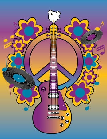 An illustration of a guitar, peace symbol and dove Ilustração
