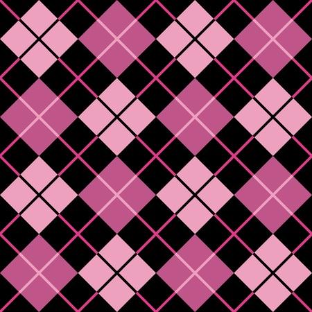 ピンクと黒のトレンディなシームレスなアーガイル柄。