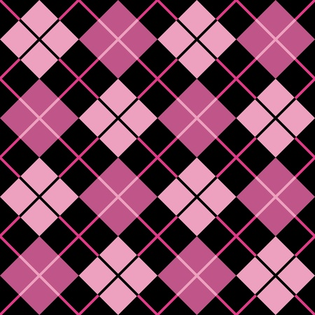 Trendy seamless argyle pattern in pink and black. Vector