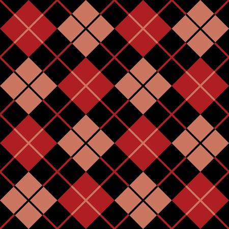 赤と黒でトレンディなシームレスなアーガイル柄。  イラスト・ベクター素材