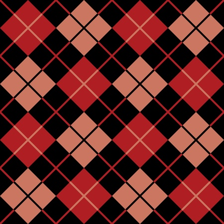 Trendy seamless argyle pattern in red and black. Vector