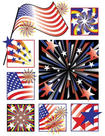 Vector collection of eight designs celebrating America s birthday using gradients Stock Vector - 13317305