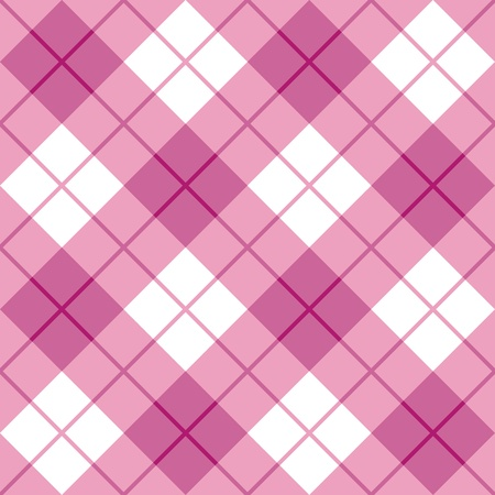 Seamless diagonal plaid pattern in pink  Vector
