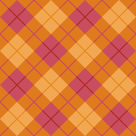 Seamless diagonal plaid pattern in pink and orange  Vector
