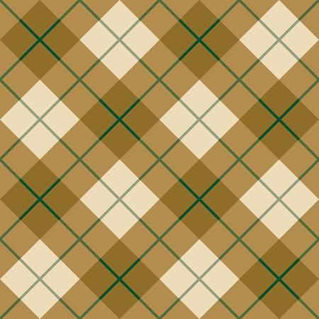 緑のストライプと茶色でシームレスな斜め格子縞のパターン  イラスト・ベクター素材