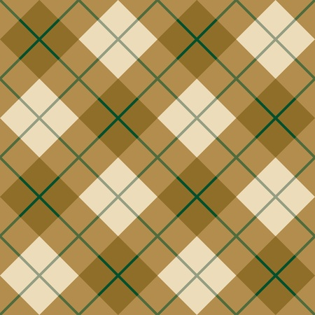 Seamless diagonal plaid pattern in browns with a green stripe  Vector