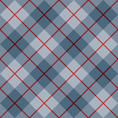 Seamless diagonal plaid pattern in blue with a red stripe