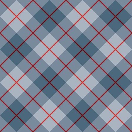 sfondo strisce: Seamless diagonale plaid in blu con una striscia rossa