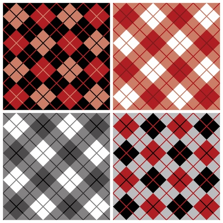 Four argyle and plaid patterns in red and black  Ilustrace