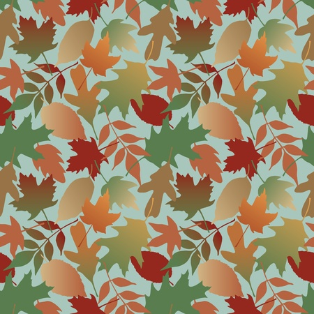Seamless pattern of Autumn leaves with a blue background  This is a 4-tile repeat of the pattern  Vector