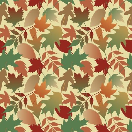 Seamless pattern of Autumn leaves with a yellow background  This is a 4-tile repeat of the pattern  Vector
