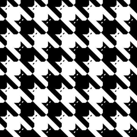 Naadloze houndstooth patroon bestaat uit katten in zwart-wit