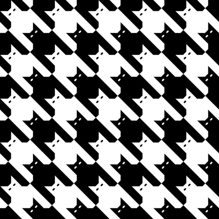 Seamless houndstooth pattern made up of cats in Black and White