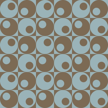 mod: Circles in Squares seamless pattern in blue and brown.