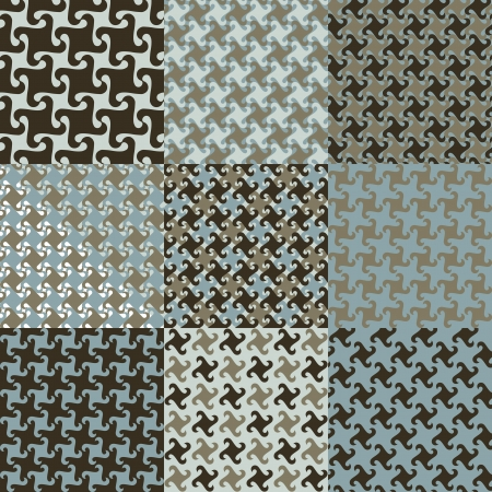 Nine swirly houndstooth-style patterns in blue and brown Vector