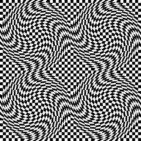 Checkerboard warp seamless pattern in a four-tile repeat. Vector