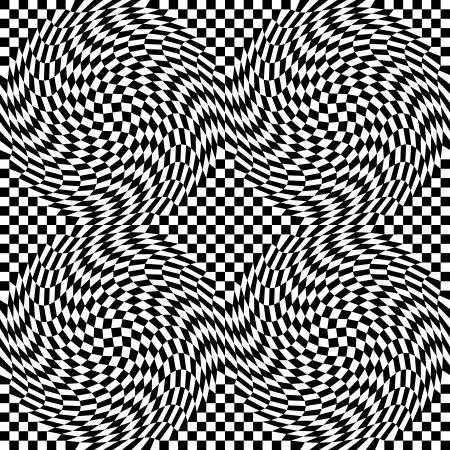 cuadros blanco y negro: Patrón de cuadros de urdimbre sin problemas en una repetición de cuatro azulejos. Vectores