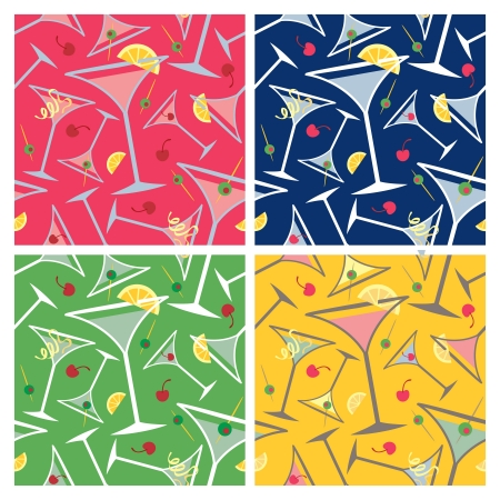 Martini glass seamless pattern with popular garnishes in four colorways  Illustration