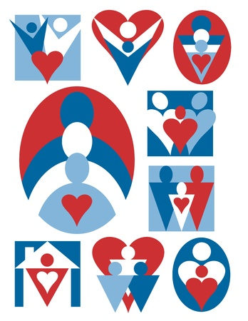 collection of family icons with hearts. Stock Vector - 14250053