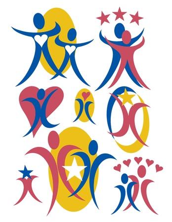 Vector collectie # 3 van de mensen pictogrammen met hartjes en sterren. Stock Illustratie