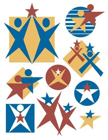 verzameling van mensen symbolen met sterren. Stock Illustratie