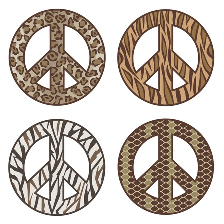 anti war: collection of four animal print peace symbols: Leopard, Tiger, Zebra and Snake.