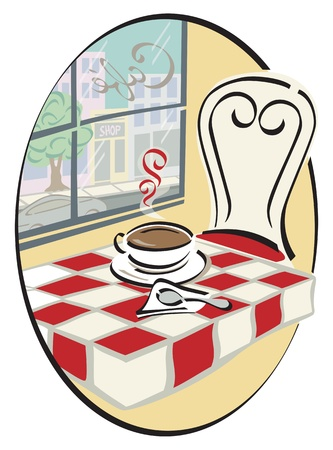 illustration of a cup of hot coffee at a cafe table