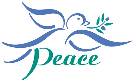 Dove with olive branch design.
