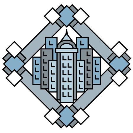 Art Deco-stijl stadsbeeld ontwerp in blauw en grijs.