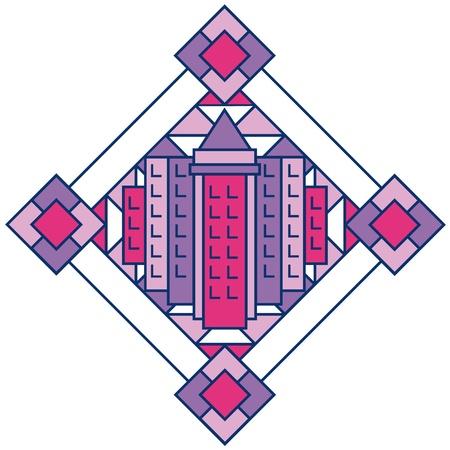 Art Deco-style cityscape design in pink and purple. Illusztráció