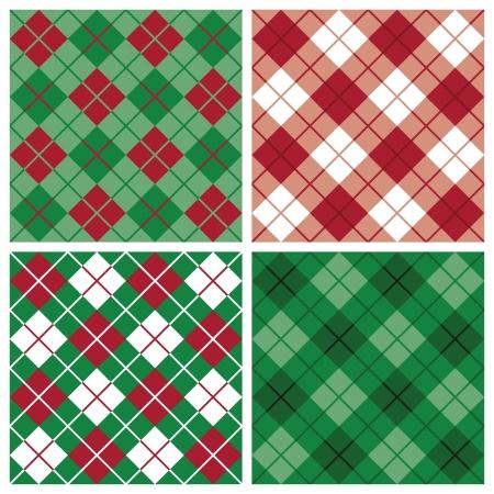 Argyle en plaid patronen in vakantie rood en groen. Stock Illustratie