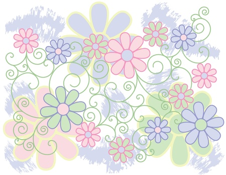 flowery: Vector de fondo de flores estilizadas en colores pastel.