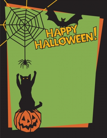 Vector background of a mischievous cat sitting on a pumpkin and swatting at a spider while a bat looks on. Type style is my own design. Vector