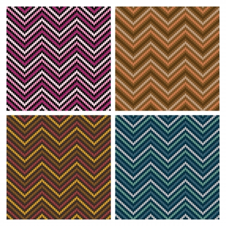 Seamless vector herringbone pattern in four colorways. Vector