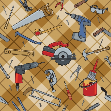 Home construction and repair tools on a seamless plaid pattern.