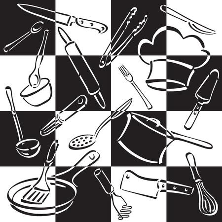 utensilios de cocina: Ilustraci�n vectorial de cocinar y comer utensilios y equipo en un fondo de tablero de ajedrez en blanco y negro.