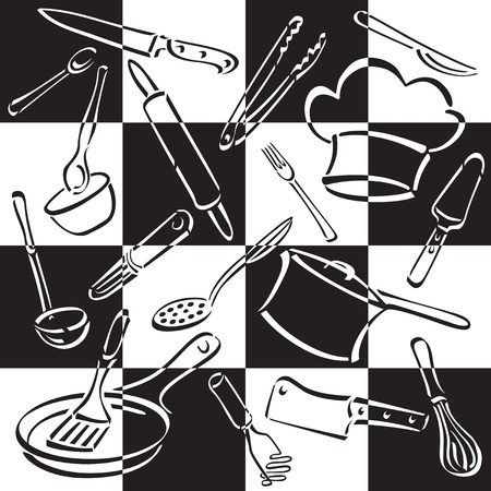 Vector illustration of cooking and eating utensils and equipment on a black and white checkerboard background.
