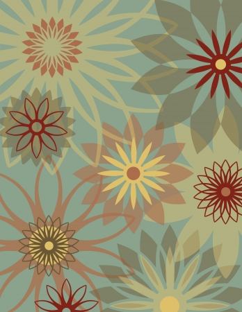 Retro Floral Background Illustration