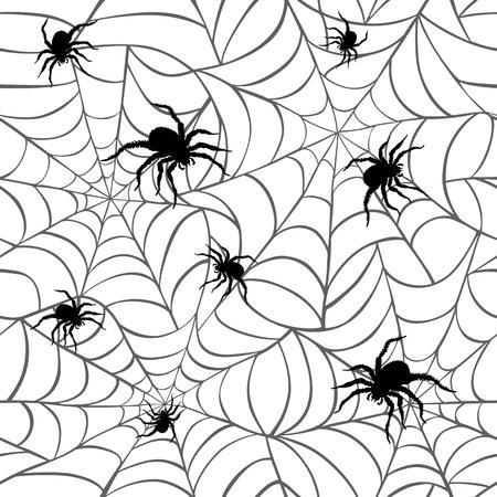 Spinnen op Webs Patroon herhaalt naadloos Stock Illustratie