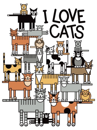 talent show: Design of a group of talented, cute cats performing a balancing act, with the words  I Love Cats  Typestyle is my own design  Illustration
