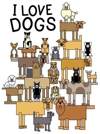 beagle puppy: Ilustraci�n de un grupo de talentosos, perros lindos que realizan un acto de equilibrio con las palabras I Love Dogs Estilo de Letra Es mi propio dise�o